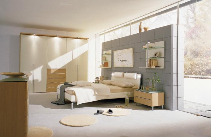 schlafzimmermöbel tolle wandgestaltung beleuchteter kleiderschrank