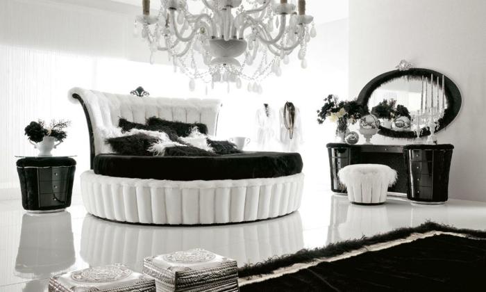 schlafzimmermöbel weiß schwarz interieur rundes bett