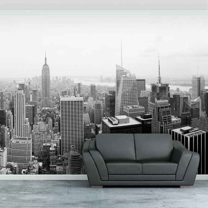 Selbstklebende tapete die trendige wanddekoration mit stil for Black and white new york mural wallpaper