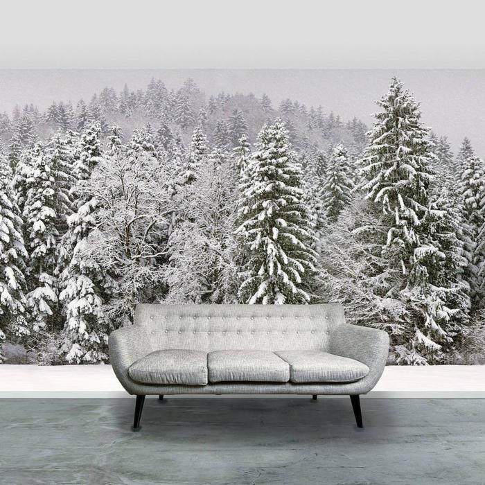 selbstklebende tapete winterwald schnee nadelbäume