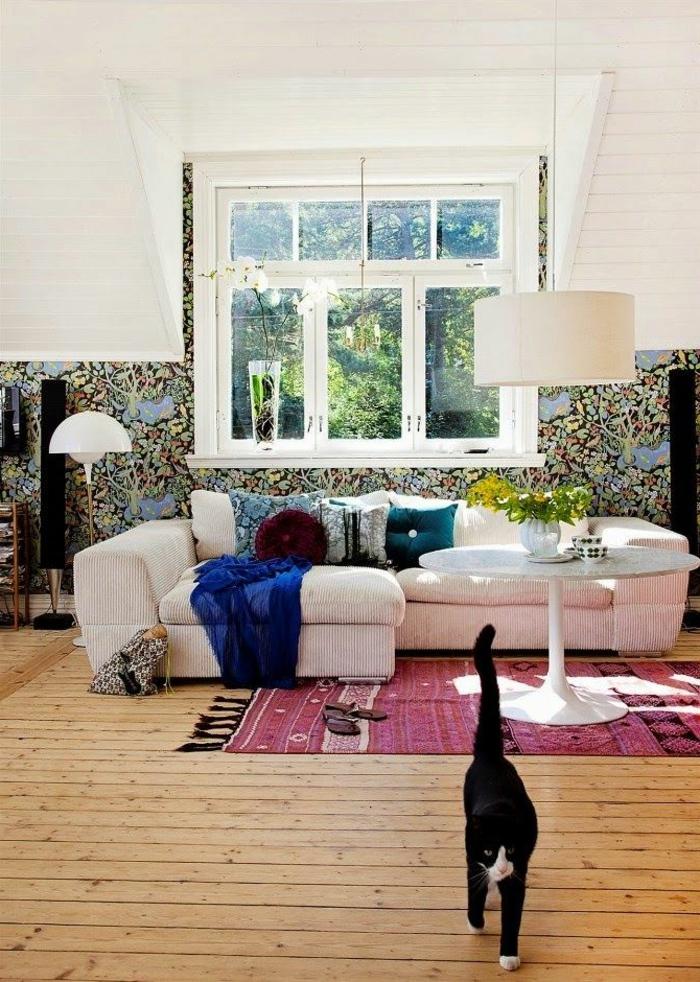 skandinavisch einrichten eklektisches wohnzimmer teppich