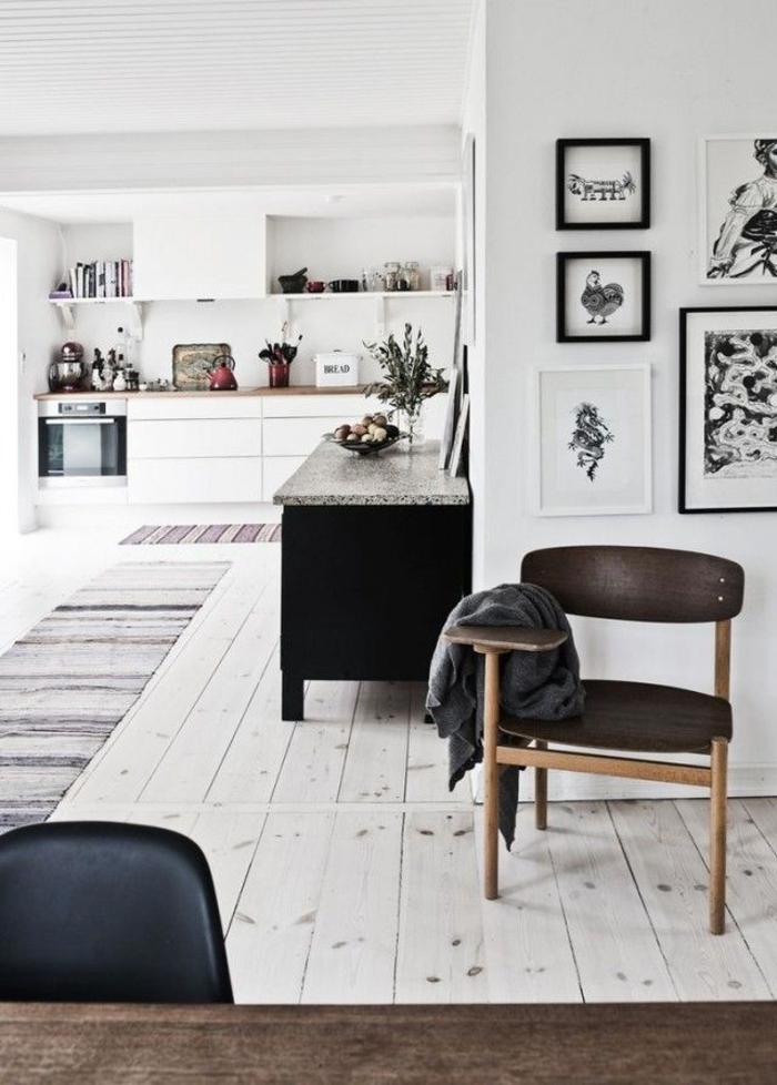 skandinavisch einrichten küche teppichläufer holzboden