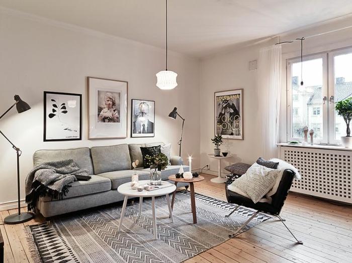 skandinavisch einrichten wohnzimmer möbel teppich deko