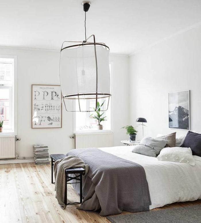 skandinavische teppiche schlafzimmer weiß grau
