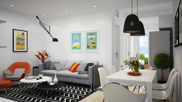 skandinavische teppiche schwarz weiß muster