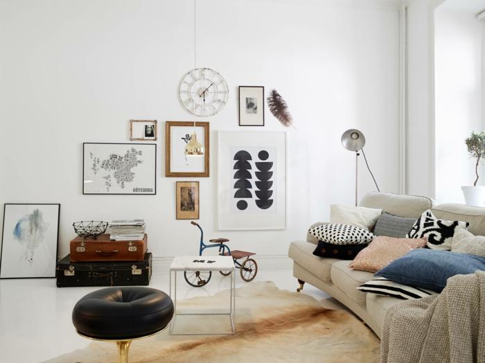 skandinavische teppiche wohnzimmer fellteppich schöne wanddeko