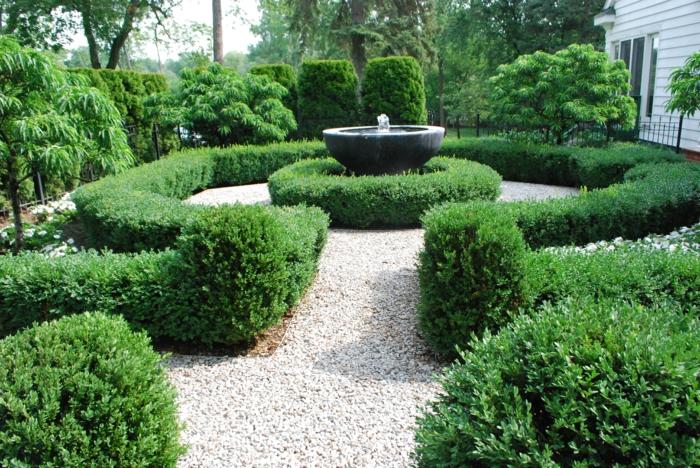 springbrunnen gartengestaltung rund granit buchsbaum