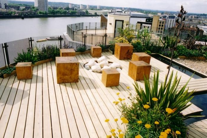 terrassengestaltung cooles terrasssengeländer hocker dekosteine