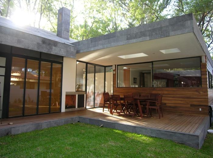 moderne terrassengestaltung gartentisch stühle stilvoll schlicht