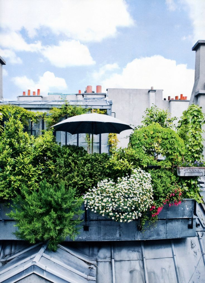 terrassengestaltung viele pflazen sonnenschirm exterieur ideen