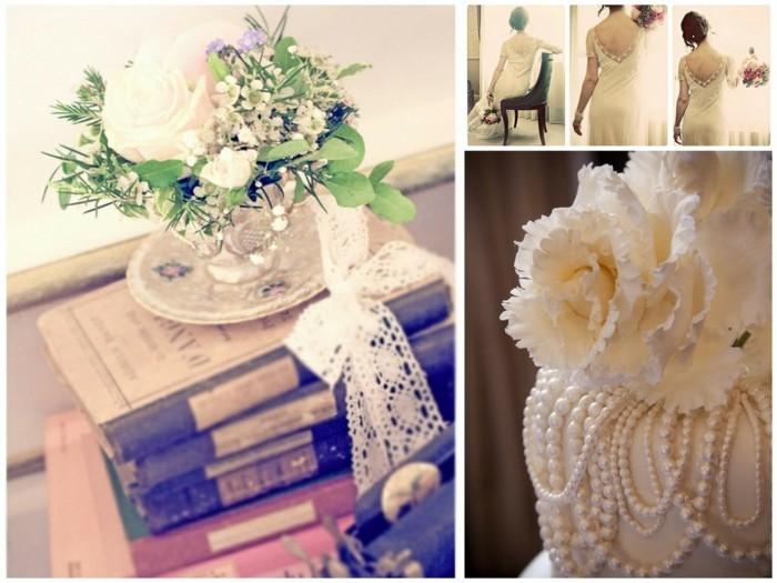 vintage brautkleid perlen weisse rosen