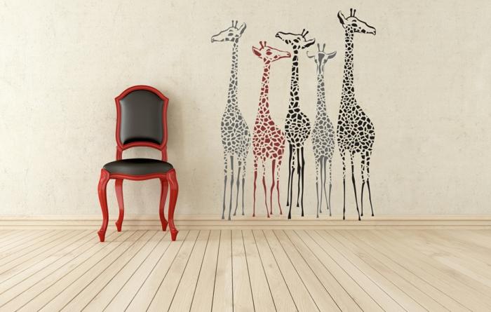 kreative wandgestaltung wohnzimmer wandtattoo giraffen