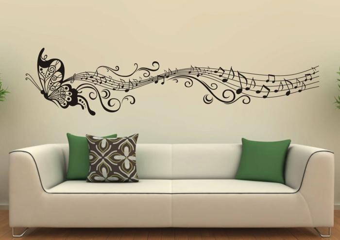 wandtattoos wohnzimmer sofa kreative wandgestaltung
