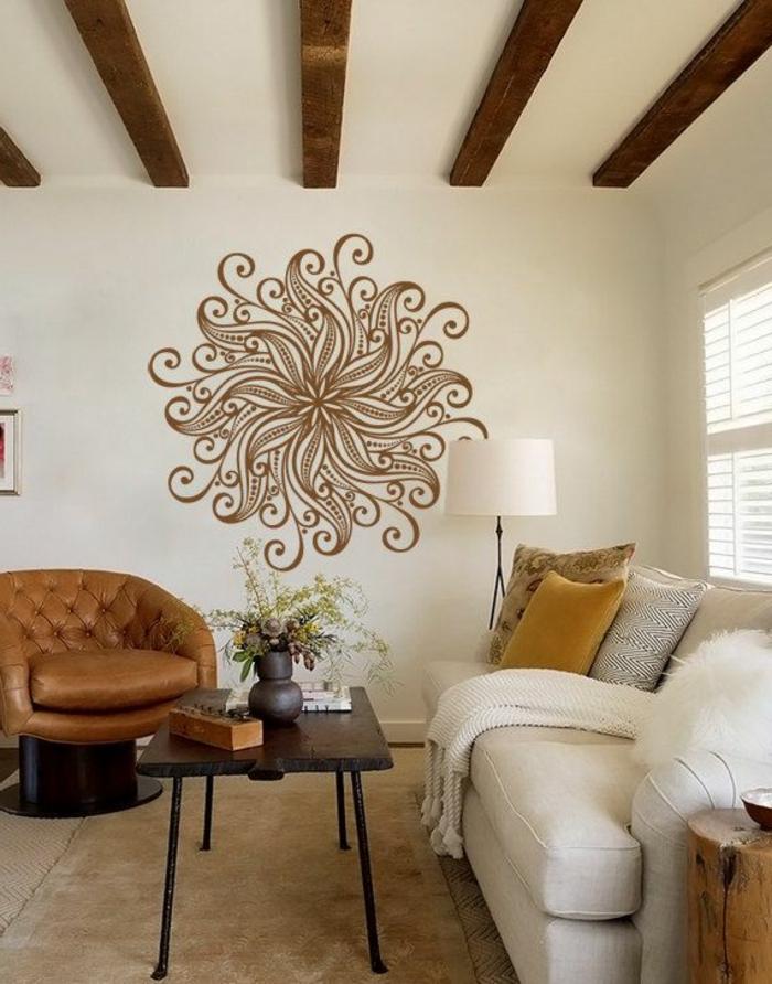 wandtattoos wohnzimmer wäbnde verschönern elegant ledersofas etsy