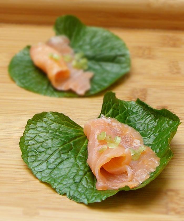 wasabi asiatische gerichte lachs wasabiblatt