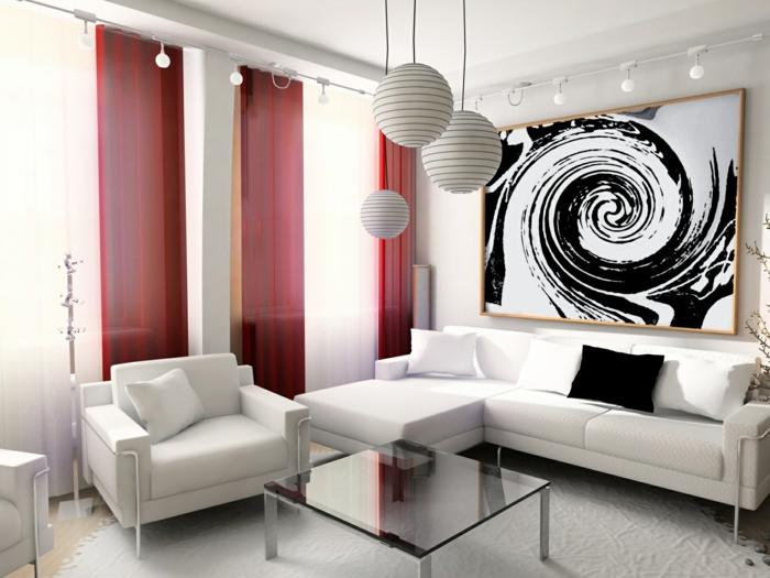 weiße wohnzimmermöbel rote gardinen coole pendelleuchten