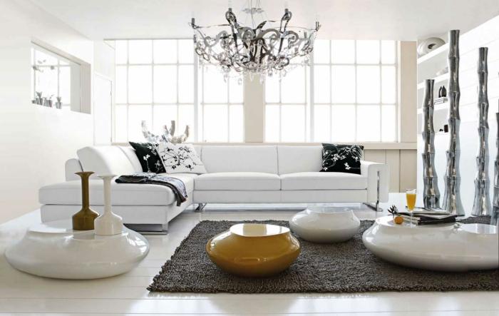 weiße wohnzimmermöbel teppich gelbe akzente
