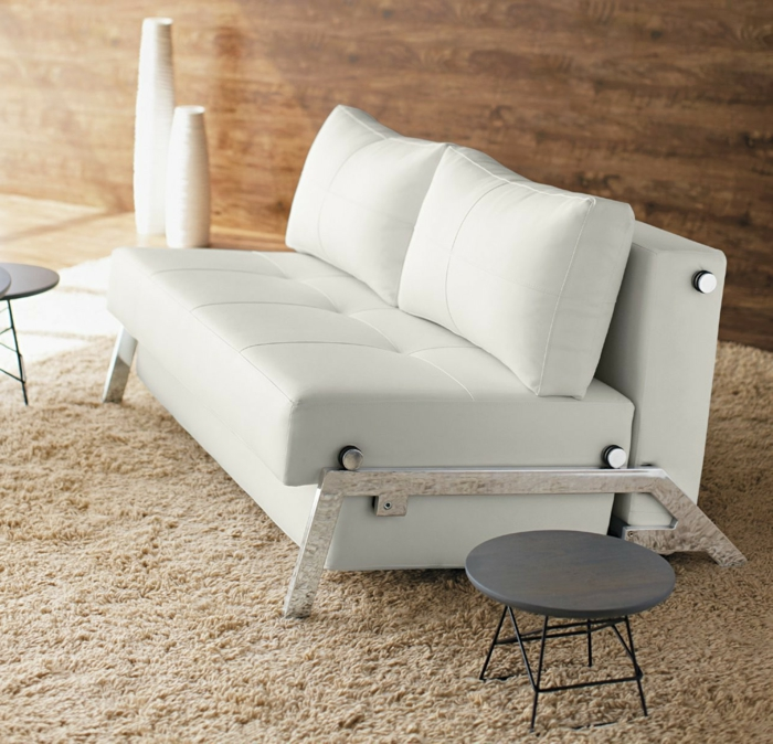 weiße wohnzimmermöbel weißes ledersofa beistelltische
