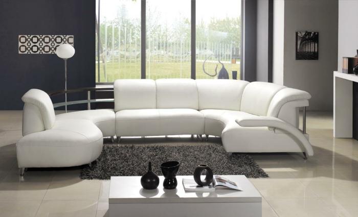 weiße wohnzimmermöbel weißes sofa graue wand