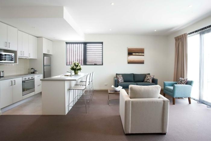 wohnzimmer design integrierte küche kücheninsel