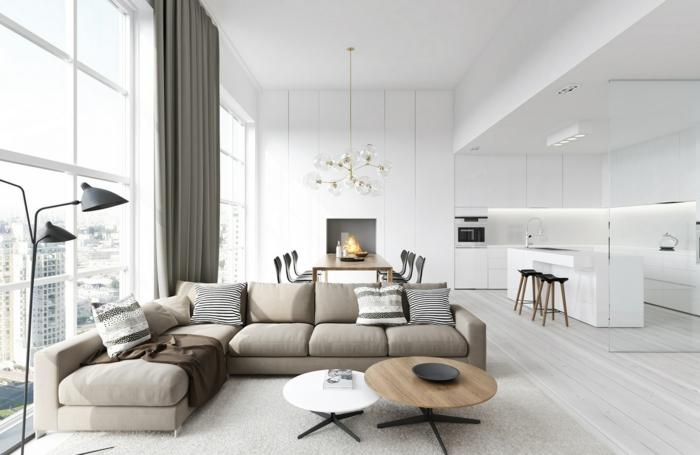 wohnzimmer design integrierte küche weiße kücheninsel
