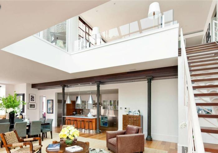 wohnzimmer design küche essbereich integrieren
