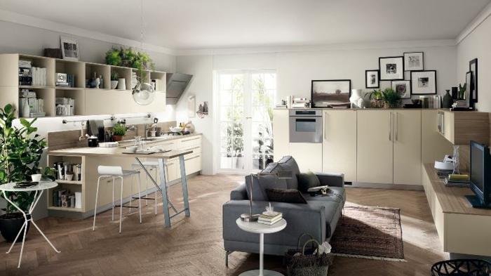 wohnzimmer design kombination mit küche graues sofa