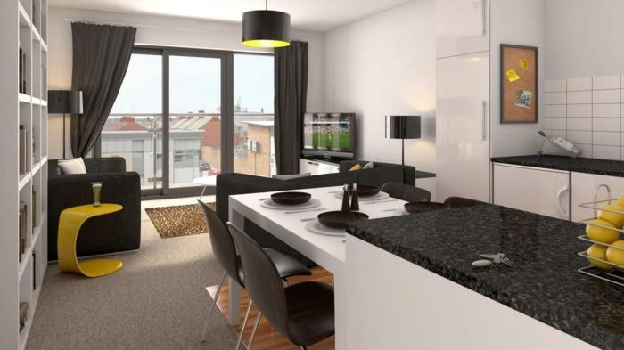 wohnzimmer design küche integrieren ausgefallene möbel