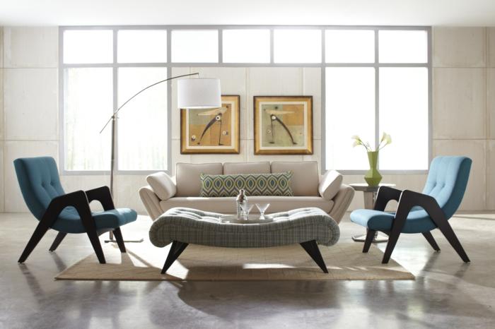 Wohnzimmereinrichtung Blaue Sessel Teppich