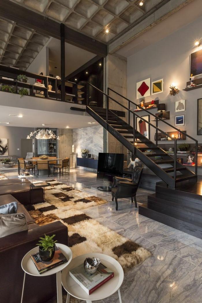 Wohnzimmereinrichtung Fellteppich Beistelltische Luxurios Modern