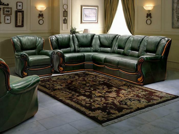 wohnzimmereinrichtung grünes ledersofa eleganter teppich