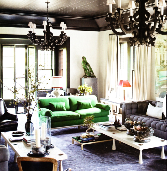 wohnzimmereinrichtung grünes sofa cooler couchtisch leuchter