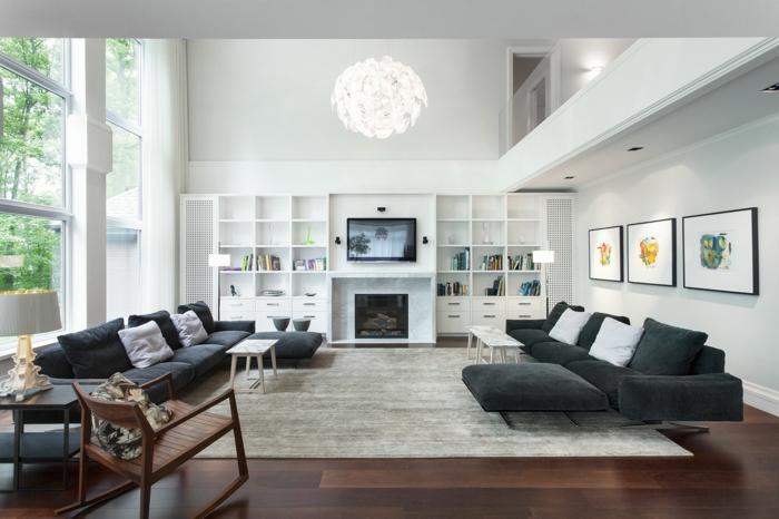 wohnzimmereinrichtung graue möbel teppich weiße wohnwand