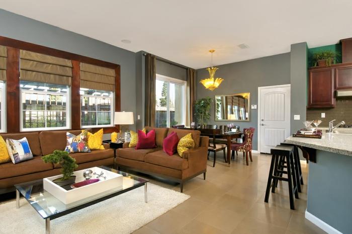 wohnzimmereinrichtung ideen braunes sofa farbige dekokissen kücheninsel