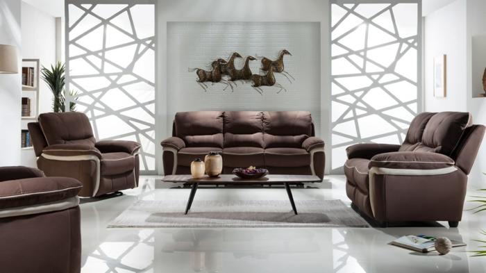 wohnzimmereinrichtung ideen cooles luxuriöses design braune möbel