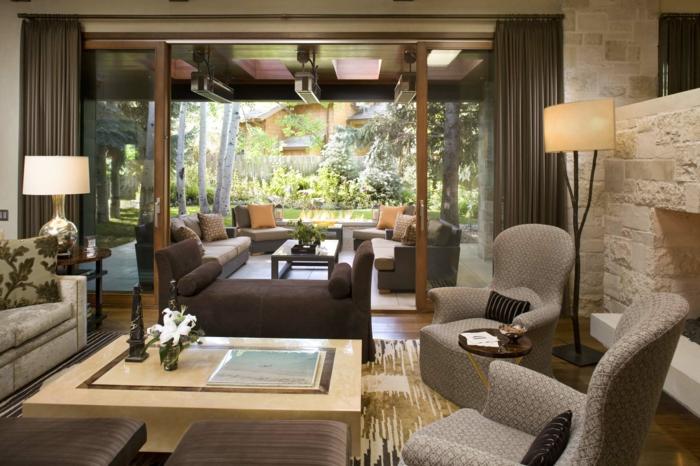 wohnzimmereinrichtung ideen elegante möbel teppich schiebetüren