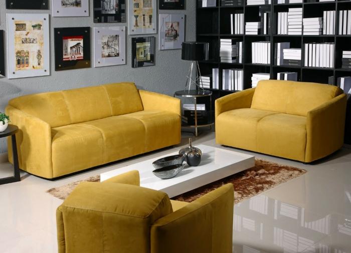 wohnzimmereinrichtungen gelbe möbel fell teppich