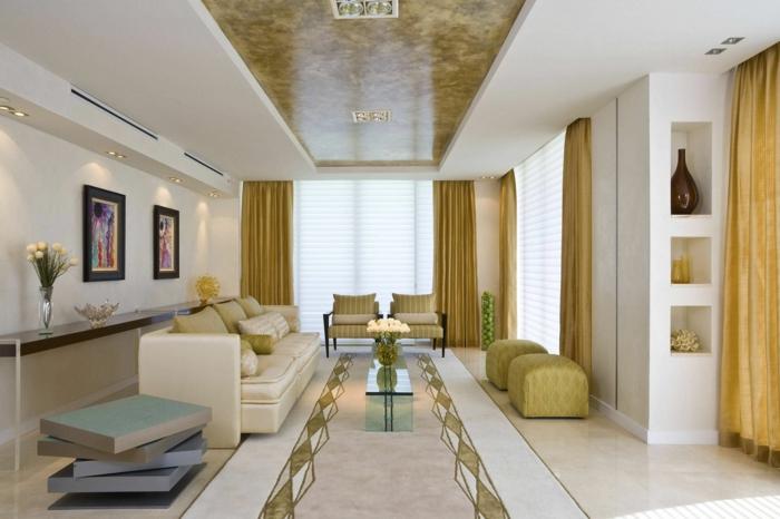 wohnzimmereinrichtung ideen luxuriöse möbel hocker glastisch
