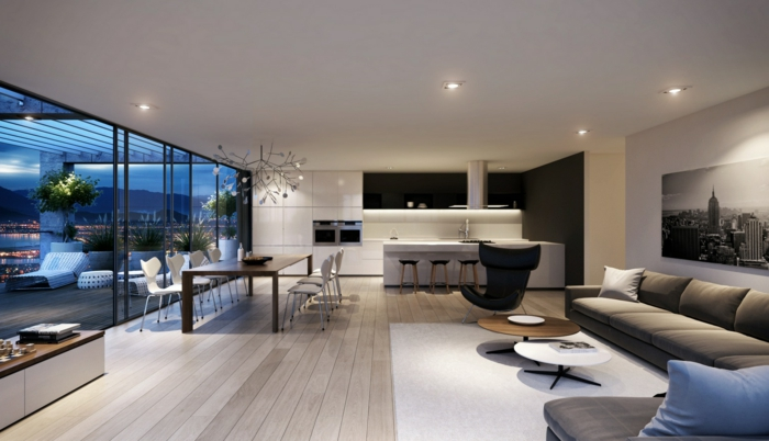 wohnzimmereinrichtung ideen offenes wohnzimmer weißer teppich