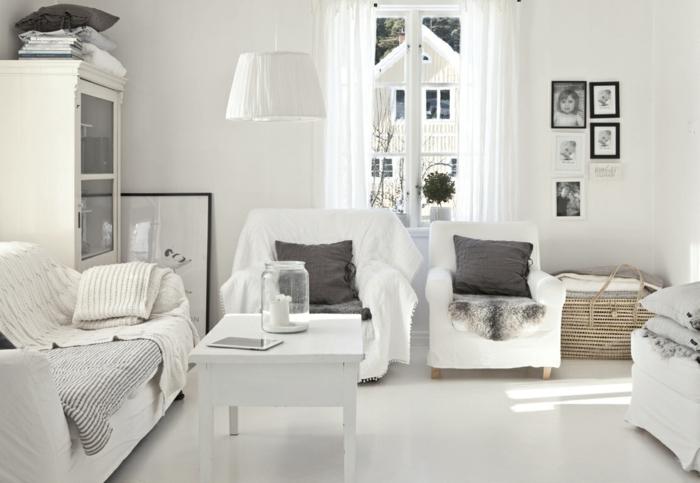 wohnzimmereinrichtung ideen skandinavischer stil weiß möbel