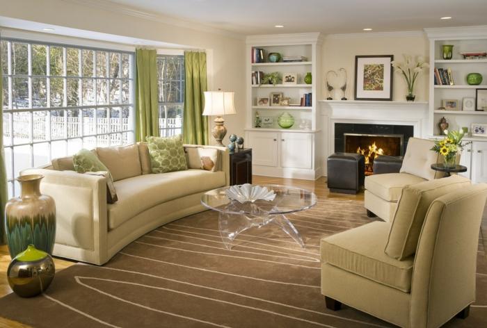 wohnzimmer einrichten teppich gläserner couchtisch