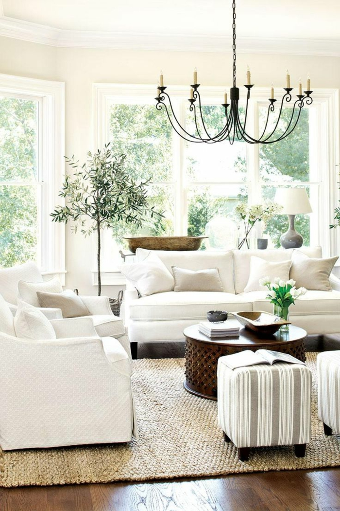 wohnzimmereinrichtung ideen weiß wohnzimmermöbel sisalteppich pflanzen