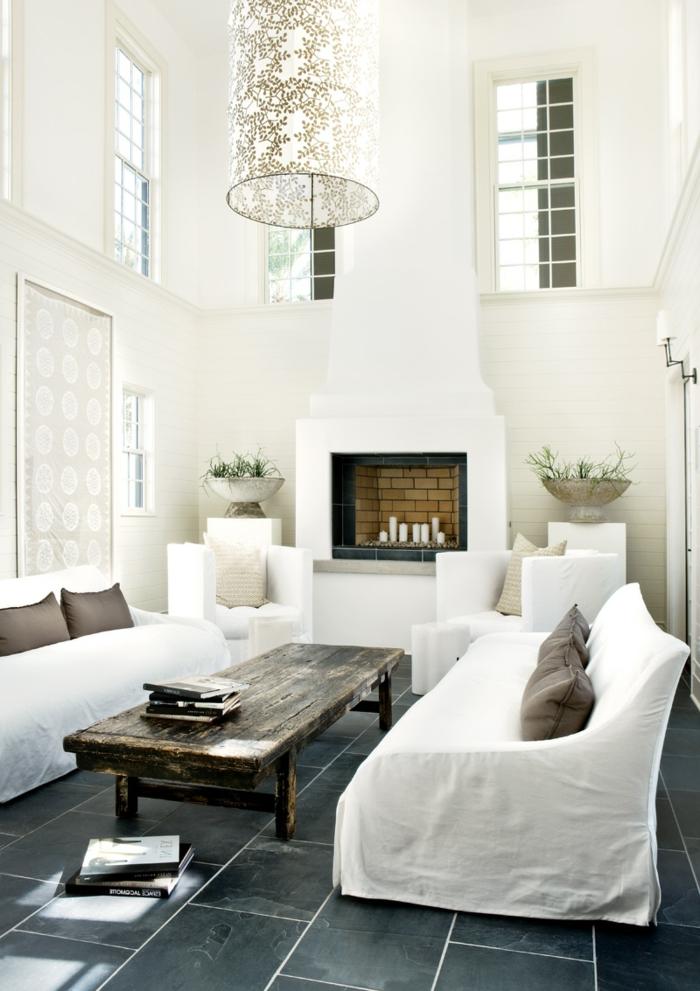 wohnzimmereinrichtung ideen weiße möbel rustikaler couchtisch