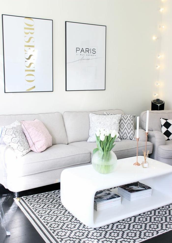 wohnzimmereinrichtung ideen weiße möbel schönes teppichmuster pflanzen