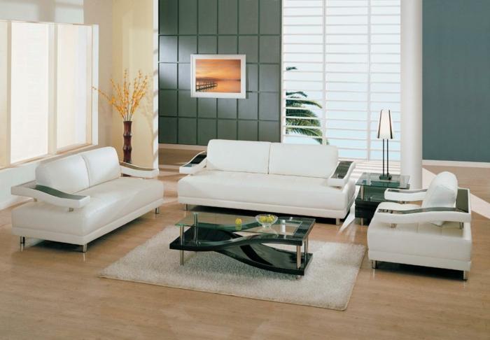 wohnzimmereinrichtung ideen weiße möbel weißer teppich