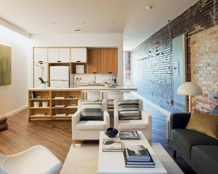 wohnzimmereinrichtung ideen weiße sessel integrierte küche