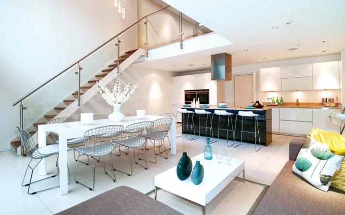 wohnzimmereinrichtung ideen weißer couchtisch essbereich küche
