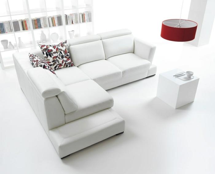 wohnzimmereinrichtung ideen weißes ecksofa farbige dekokissen