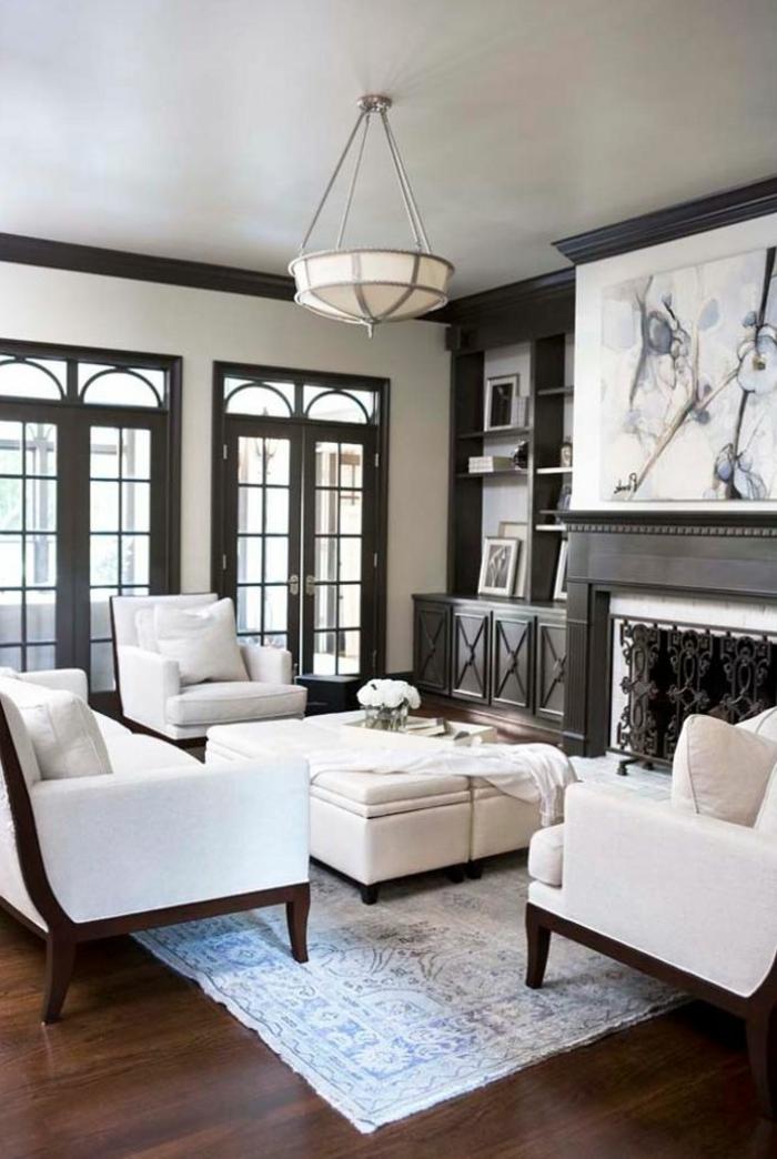 wohnzimmereinrichtung ideen weißes mobiliar schöner leuchter