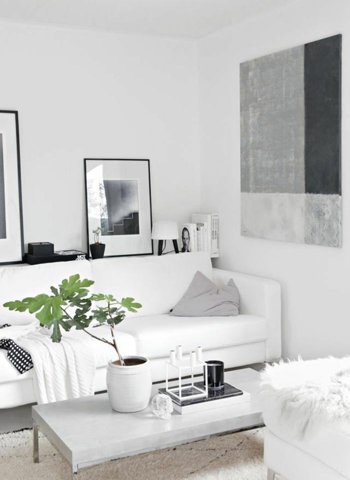 wohnzimmereinrichtung ideen weißes sofa pflanze dekoideen